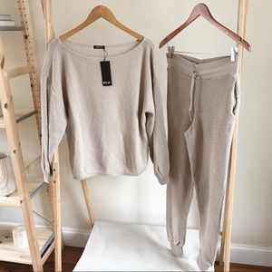 Cozy Waffle Knit Jogger Set in Oatmeal - Medium